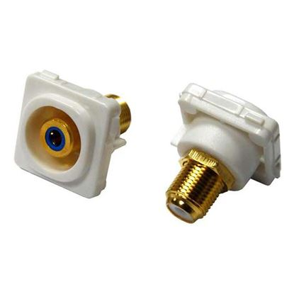 Picture of AMDEX Blue RCA to F Connector. Gold Plated