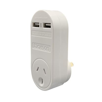 Picture of JACKSON Single Plug USB Wall Charger, 2x USB Charging Outlets