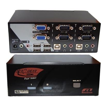 Picture of REXTRON Dual View 2 Port VGA/USB KVM Switch with Audio.