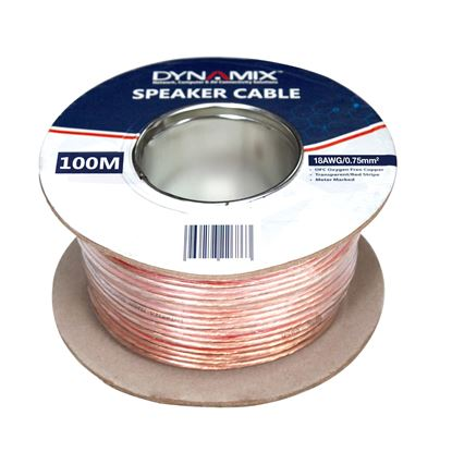 Picture of DYNAMIX 100m 18AWG PVC Speaker Cable. Bare Copper. Metre Marked.