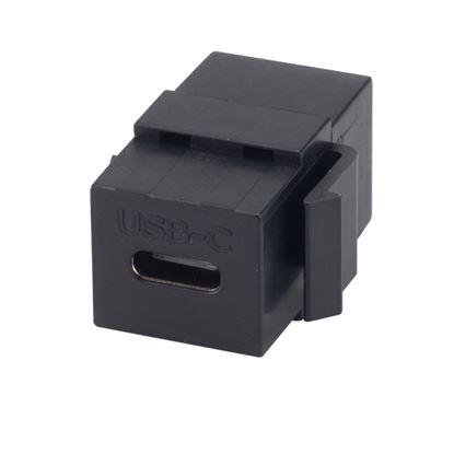 Picture of DYNAMIX USB-C 3.1 Keystone Jack Female to Female Connectors. Black