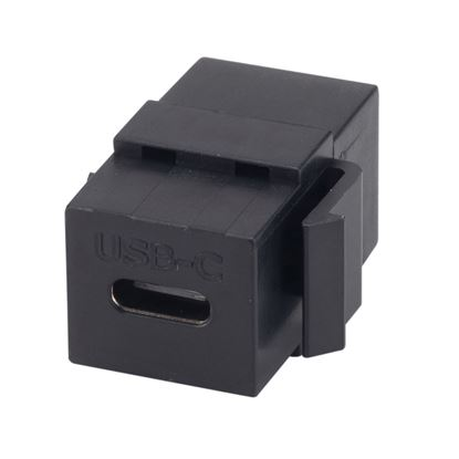 Picture of DYNAMIX USB-C 3.1 Keystone Jack Female to Female Connectors. Black