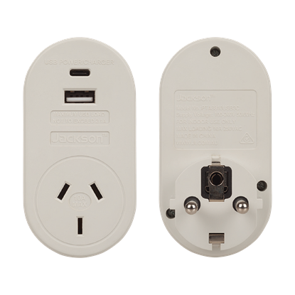 Picture of JACKSON Outbound Travel Adaptor with 1x USB-A and 1x USB-C (2.1A)