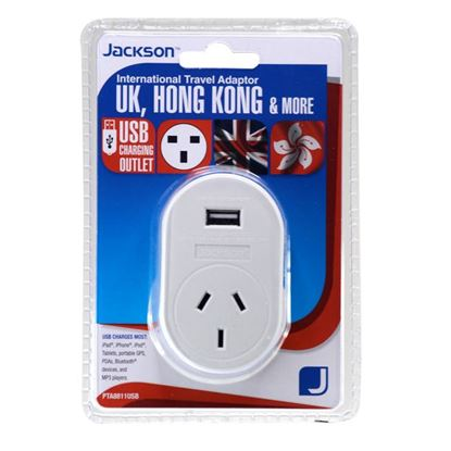 Picture of JACKSON Outbound Travel Adaptor. With 1x USB Charging Port.
