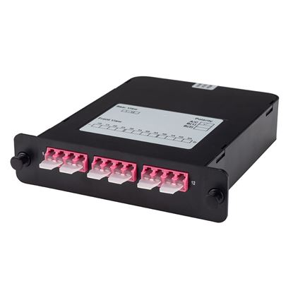 Picture of DYNAMIX MPO OM3/4 6 Port LC Duplex Multimode 12 Fibre Cassette.