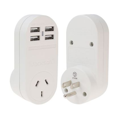 Picture of JACKSON Outbound USA Travel Adapter with 4x (3.1A) USB Ports.