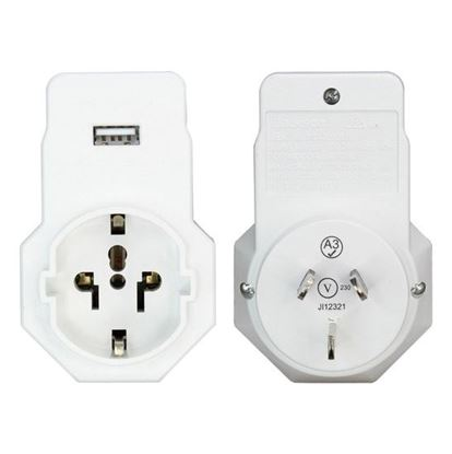 Picture of JACKSON 1x Outlet Travel Adaptor with 1x USB Charing Port & Surge
