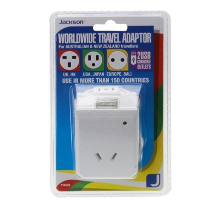 Picture of JACKSON Outbound Travel Adaptor. Includes 2x USB Charging Ports.