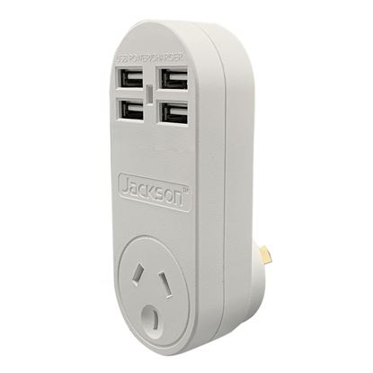 Picture of JACKSON Single Plug USB Wall Charger, 4x USB Charging Outlets