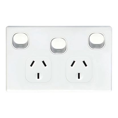 Picture of TRADESAVE Slim 10A Double Power Point with Extra 16A Switch.