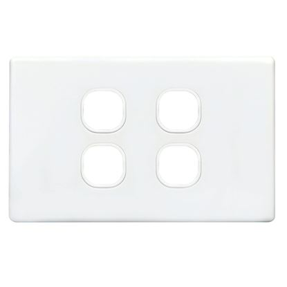 Picture of TRADESAVE Slim Switch Plate ONLY. 4 Gang. Accepts all Tradesave