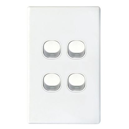 Picture of TRADESAVE Slim 16A 2-Way Vertical 4 Gang Switch. Moulded in Flame
