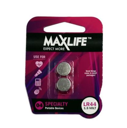 Picture of MAXLIFE LR44 Alkaline Button Cell Battery. 2Pk.