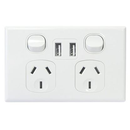 Picture of TRADESAVE Double 10A Horizontal Powerpoint with Twin USB Ports.