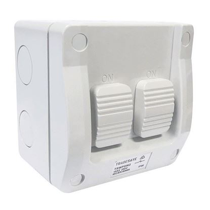 Picture of TRADESAVE 2 Gang Weatherproof Switch, 15A,IP66, Grey heavy duty