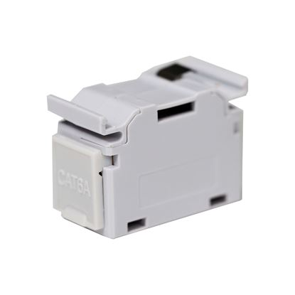 Picture of DYNAMIX Cat6A RJ45 DIN Rail Mounted 1DU Shielded Coupler. Supplied