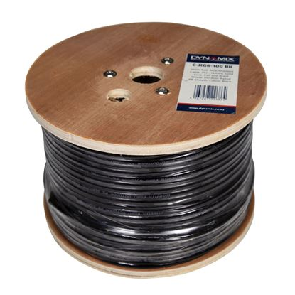Picture of DYNAMIX 100m Roll RG6 Shielded Cable. Black. 75ohm. 18AWG solid