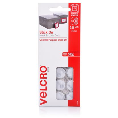 Picture of VELCRO Brand 16mm Stick On Hook & Loop Dots. Pack of 15. Designed for