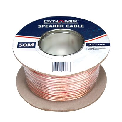 Picture of DYNAMIX 50m 18AWG PVC Speaker Cable. Bare Copper. Metre Marked.