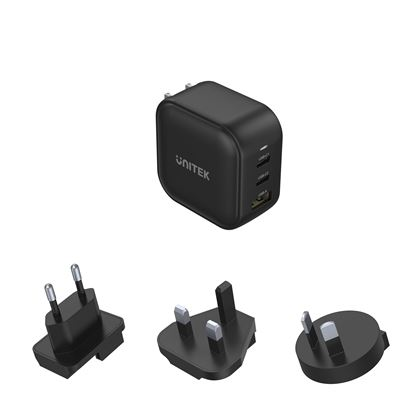 Picture of UNITEK 66W 3-in-1 Travel Charger with USB-C PD up to 65W.