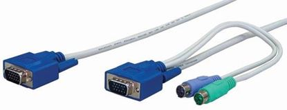 Picture of REXTRON 1.8m, 3-to-1 PS2 KVM Switch Cable.