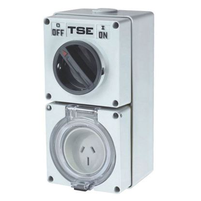 Picture of TRADESAVE Switched Outlet 3 Pin 20A Round, IP66 Stainless