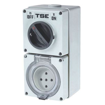 Picture of TRADESAVE Switched Outlet 5 Pin 32A Round, IP66 Stainless