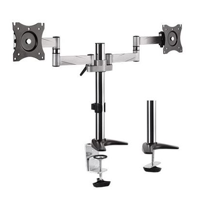 """Picture of BRATECK 13""""-27"""" Dual Monitor Desk Mount. Max load 8kg per arm."""