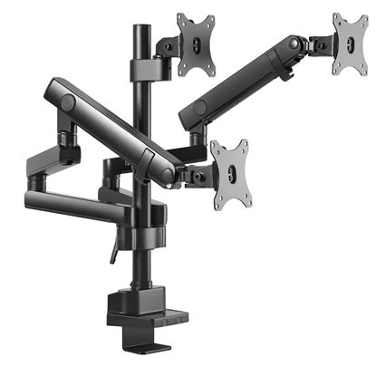 """Picture of BRATECK 17""""-27"""" Triple Monitor Spring-Assisted Desk Mount Bracket."""